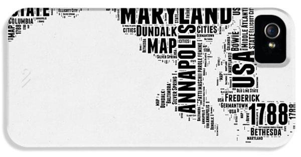 Maryland Word Cloud 2 IPhone 5 Case by Naxart Studio