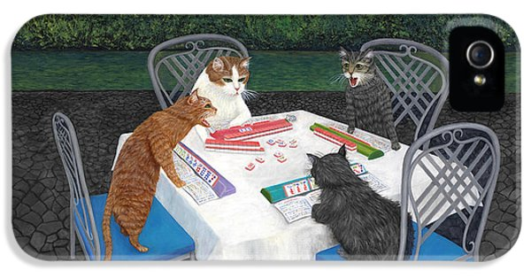 Dragon iPhone 5 Case - Meowjongg - Cats Playing Mahjongg by Karen Zuk Rosenblatt