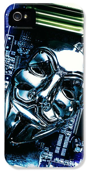 Metal Anonymous Mask On Motherboard IPhone 5 Case by Jorgo Photography - Wall Art Gallery