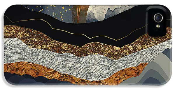 Landscape iPhone 5 Case - Metallic Mountains by Katherine Smit