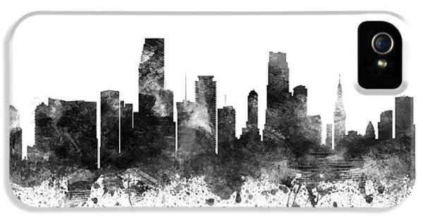 Miami Skyline iPhone 5 Case - Miami Florida Cityscape 02bw by Aged Pixel