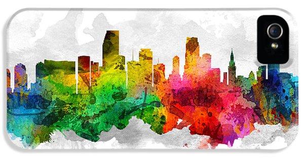 Miami Skyline iPhone 5 Case - Miami Florida Cityscape 12 by Aged Pixel