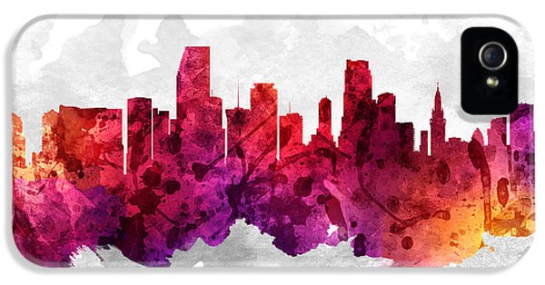 Miami Florida Cityscape 14 IPhone 5 Case by Aged Pixel