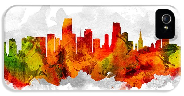Miami Skyline iPhone 5 Case - Miami Florida Cityscape 15 by Aged Pixel