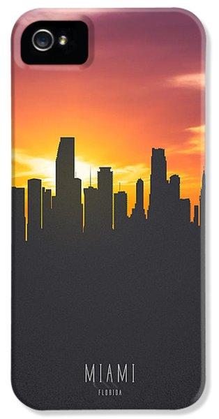 Miami Skyline iPhone 5 Case - Miami Florida Sunset Skyline 01 by Aged Pixel