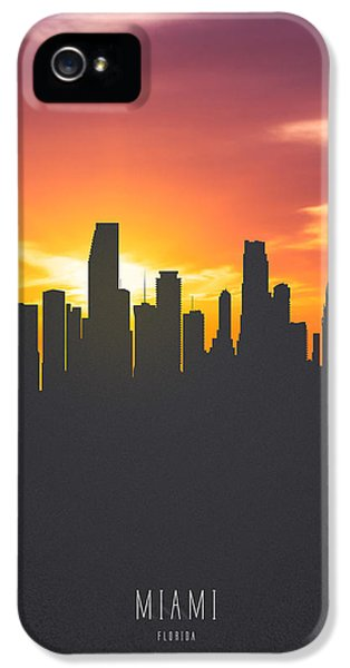 Miami Florida Sunset Skyline 01 IPhone 5 Case by Aged Pixel