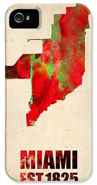 Miami iPhone 5 Case - Miami Watercolor Map by Naxart Studio