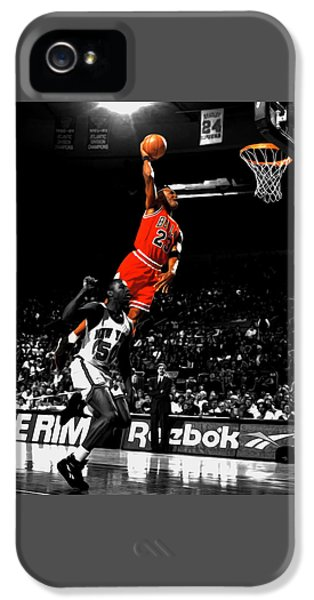 Michael Jordan Suspended In Air IPhone 5 Case by Brian Reaves