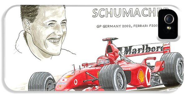 Michael Schumacher On Ferrari IPhone 5 Case by David Selucky