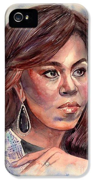Hillary Clinton iPhone 5 Case - Michelle Obama Portrait by Suzann's Art
