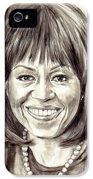 Hillary Clinton iPhone 5 Case - Michelle Obama Watercolor Portrait by Suzann's Art