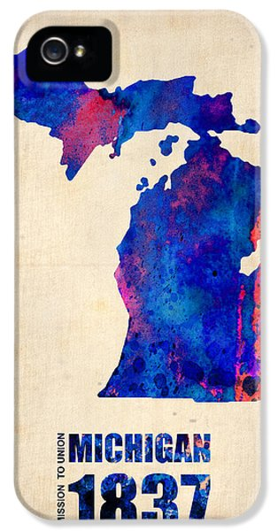 Michigan Watercolor Map IPhone 5 Case by Naxart Studio