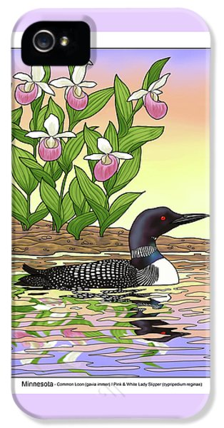 Minnesota State Bird Loon And Flower Ladyslipper IPhone 5 Case by Crista Forest