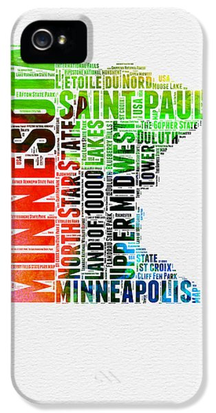 Minnesota Watercolor Word Cloud Map  IPhone 5 Case by Naxart Studio