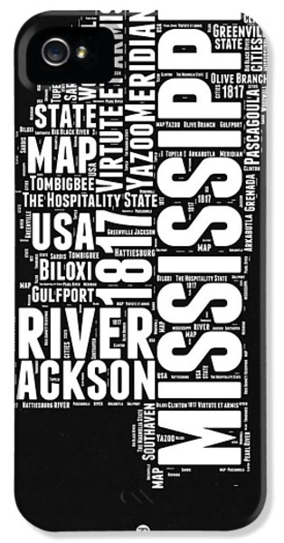 Mississippi Black And White Map IPhone 5 Case by Naxart Studio