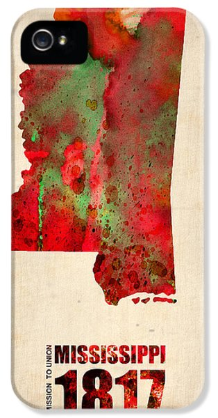 Mississippi Watercolor Map IPhone 5 Case by Naxart Studio