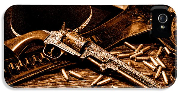 Mister Durant's Revolver - Sepia IPhone 5 Case by Olivier Le Queinec