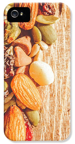 Mixed Nuts On Wooden Background IPhone 5 Case by Jorgo Photography - Wall Art Gallery