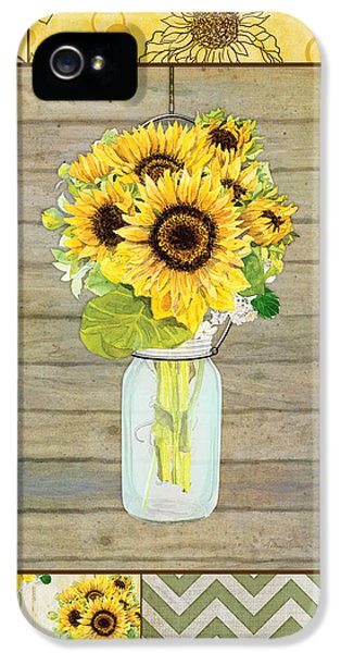 Modern Rustic Country Sunflowers In Mason Jar IPhone 5 Case
