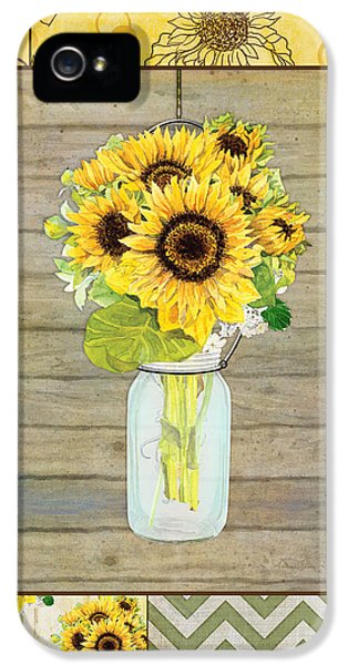 Sunflower iPhone 5 Case - Modern Rustic Country Sunflowers In Mason Jar by Audrey Jeanne Roberts