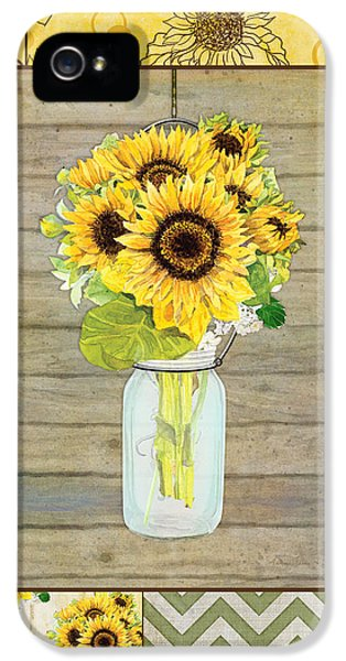Modern Rustic Country Sunflowers In Mason Jar IPhone 5 Case by Audrey Jeanne Roberts