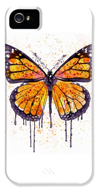 Monarch Butterfly Watercolor IPhone 5 Case by Marian Voicu