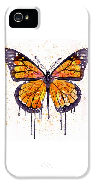 Insect iPhone 5 Case - Monarch Butterfly Watercolor by Marian Voicu