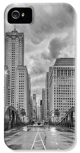 Monochrome Image Of The Marshall Suloway And Lasalle Street Canyon Over Chicago River - Illinois IPhone 5 Case