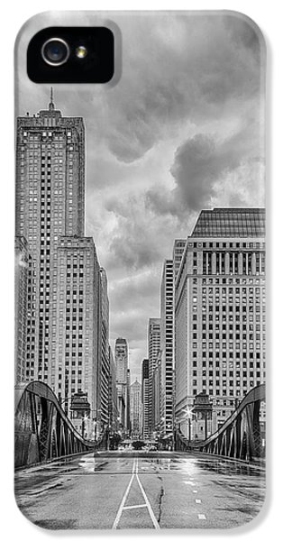 Monochrome Image Of The Marshall Suloway And Lasalle Street Canyon Over Chicago River - Illinois IPhone 5 Case by Silvio Ligutti