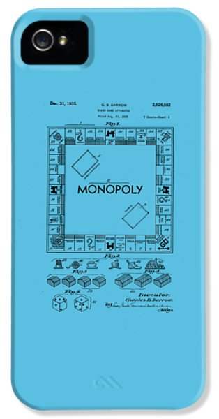 Monopoly Original Patent Art Drawing T-shirt IPhone 5 Case by Edward Fielding