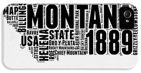 Montana Word Cloud 2 IPhone 5 Case by Naxart Studio