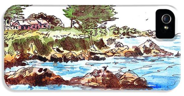 IPhone 5 Case featuring the painting Monterey Shore by Irina Sztukowski