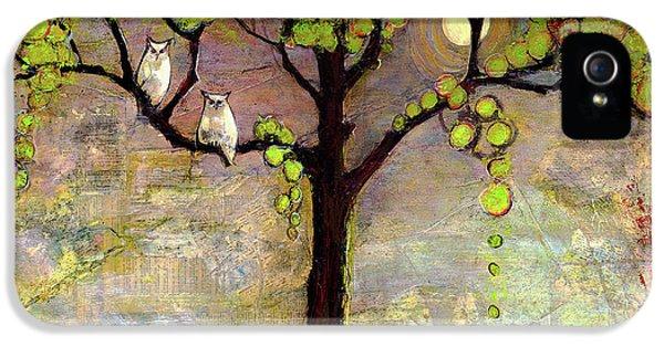 Animal iPhone 5 Case - Moon River Tree Owls Art by Blenda Studio