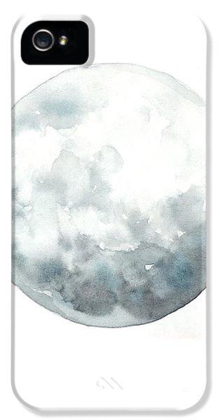 Moon iPhone 5 Case - Moon Watercolor Art Print Painting by Joanna Szmerdt
