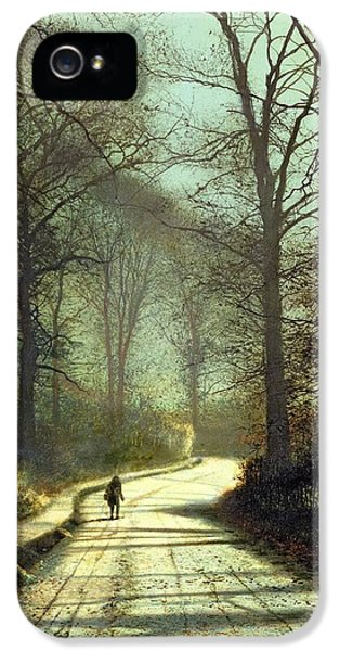 Moonlight Walk IPhone 5 Case by John Atkinson Grimshaw