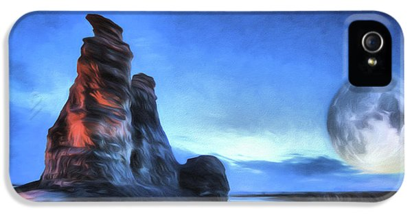 IPhone 5 Case featuring the digital art Moonrise Over Castle Rock by JC Findley