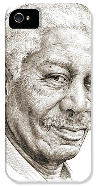 Morgan Freeman IPhone 5 Case by Greg Joens