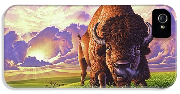 Bison iPhone 5 Case - Morning Thunder by Jerry LoFaro