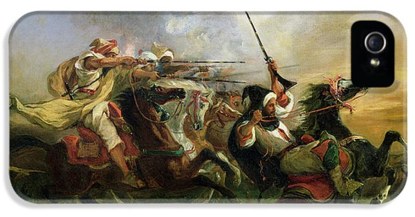 Moroccan Horsemen In Military Action IPhone 5 Case by Ferdinand Victor Eugene Delacroix