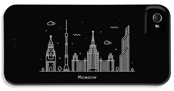 Moscow Skyline iPhone 5 Case - Moscow Skyline Travel Poster by Inspirowl Design