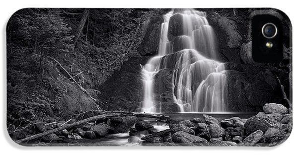 Landscape iPhone 5 Case - Moss Glen Falls - Monochrome by Stephen Stookey