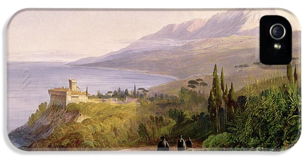 Mount Athos And The Monastery Of Stavroniketes IPhone 5 / 5s Case by Edward Lear