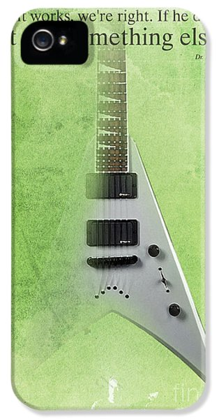 Dr House Inspirational Quote And Electric Guitar Green Vintage Poster For Musicians And Trekkers IPhone 5 Case by Pablo Franchi