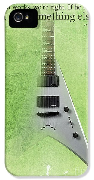 Dr House Inspirational Quote And Electric Guitar Green Vintage Poster For Musicians And Trekkers IPhone 5 / 5s Case by Pablo Franchi