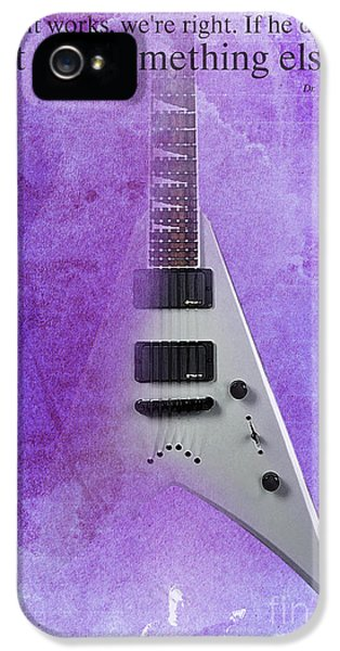 Dr House Inspirational Quote And Electric Guitar Purple Vintage Poster For Musicians And Trekkers IPhone 5 Case by Pablo Franchi