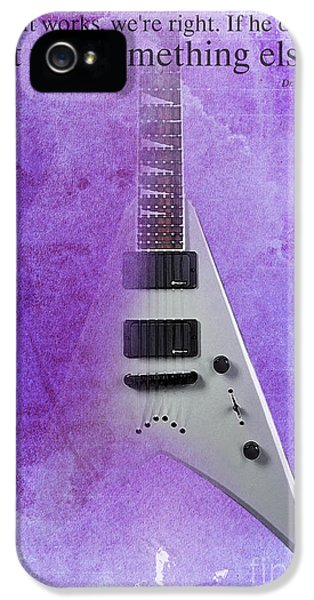 Dr House Inspirational Quote And Electric Guitar Purple Vintage Poster For Musicians And Trekkers IPhone 5 / 5s Case by Pablo Franchi