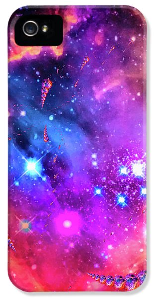 Orange iPhone 5 Case - Multi Colored Space Chaos by Matthias Hauser