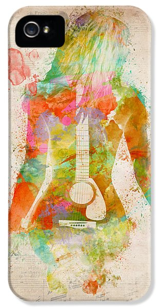 Guitar iPhone 5 Case - Music Was My First Love by Nikki Marie Smith