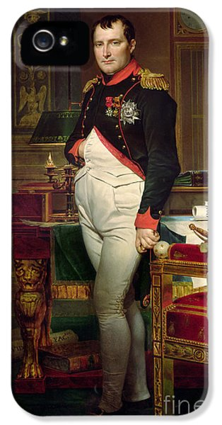 Clock iPhone 5 Case - Napoleon Bonaparte In His Study At The Tuileries, 1812 by Jacques Louis David