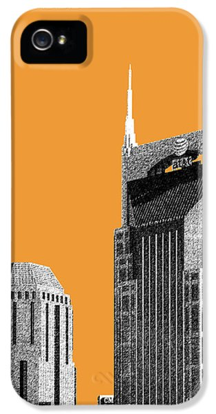 Nashville Skyline At And T Batman Building - Orange IPhone 5 / 5s Case by DB Artist